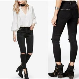 Free People Payton Studded High Rise Skinny Jeans